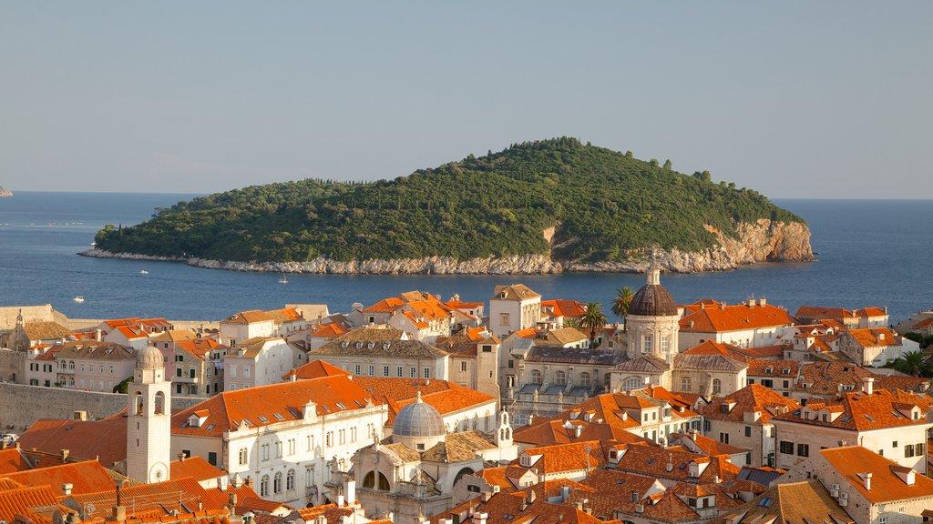 Lokrum Island which includes a coastal town and island views