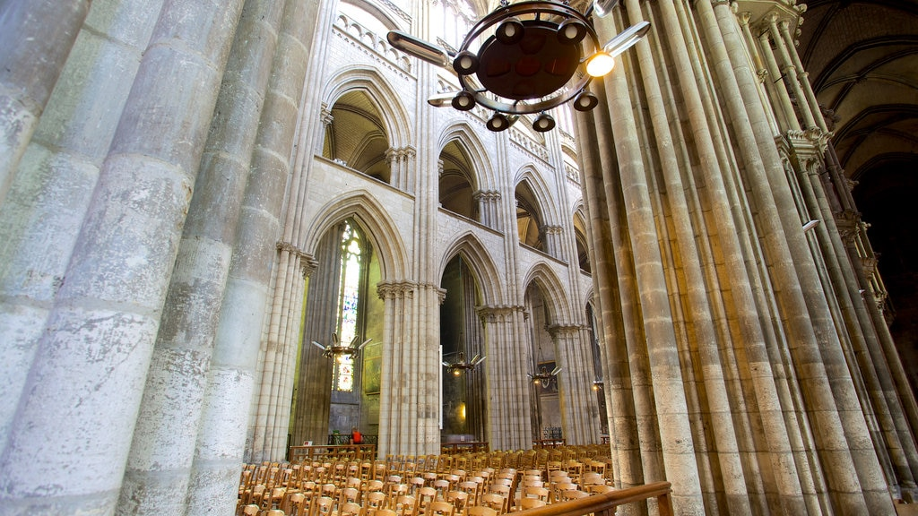 Rouen Cathedral which includes a church or cathedral and interior views