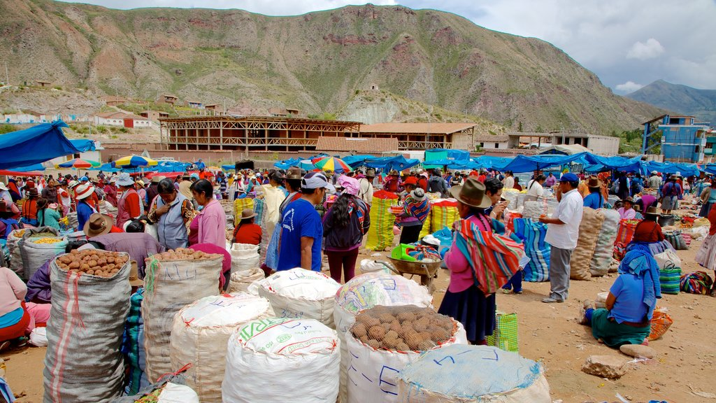 Urubamba featuring markets, indigenous culture and mountains