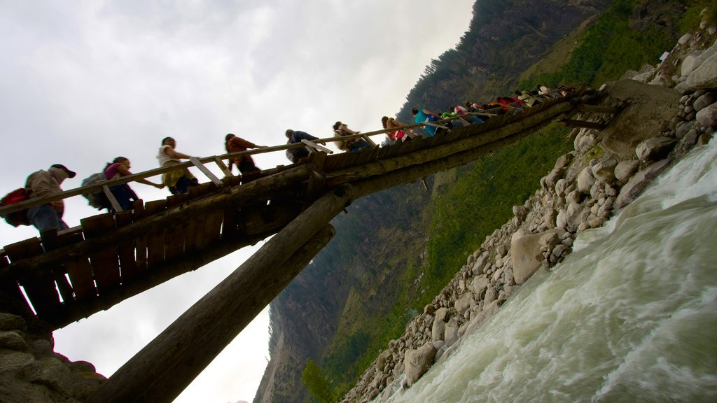 Manali featuring a suspension bridge or treetop walkway, a river or creek and a bridge