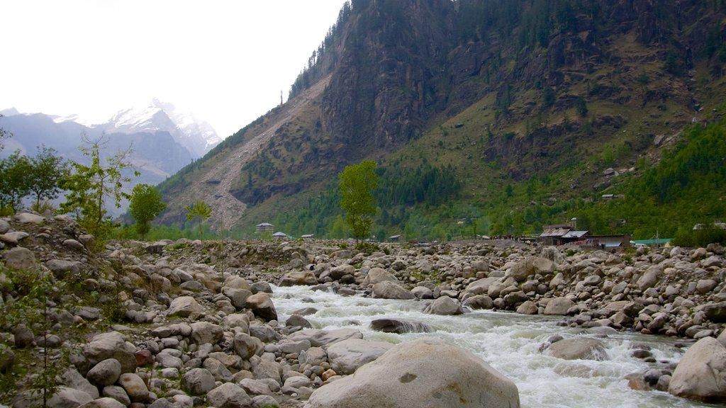 Manali mostrando escenas tranquilas, un río o arroyo y montañas