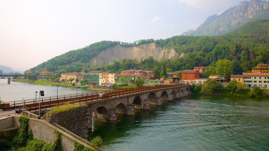 Lecco featuring a river or creek, a bridge and general coastal views