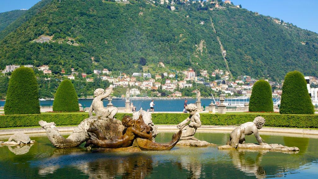 Villa Olmo featuring a garden, a fountain and a coastal town