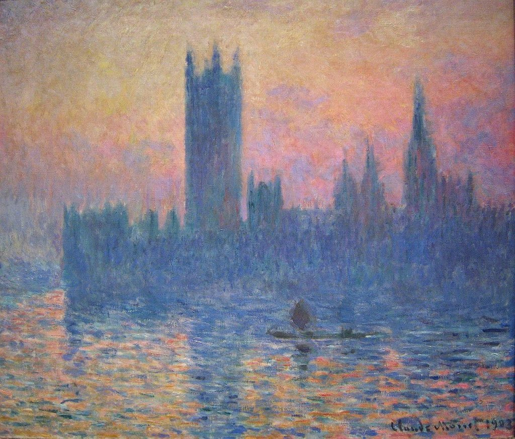 Parlamento, al tramonto - By Claude Monet - Digital photo by User:Postdlf, Public Domain, https://commons.wikimedia.org/w/index.php?curid=11872903