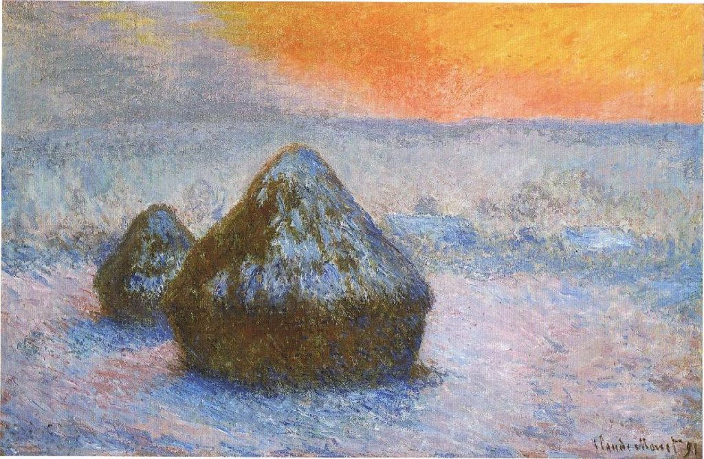 Pagliai (crepuscolo, effetto di neve) - Di Claude Monet - Scanned from Stuckey, Charles F., Claude Monet 1840-1926, 1995, co-published by The Art Institute of Chicago and Thames and Hudson., Pubblico dominio, https://commons.wikimedia.org/w/index.php?curid=4376073