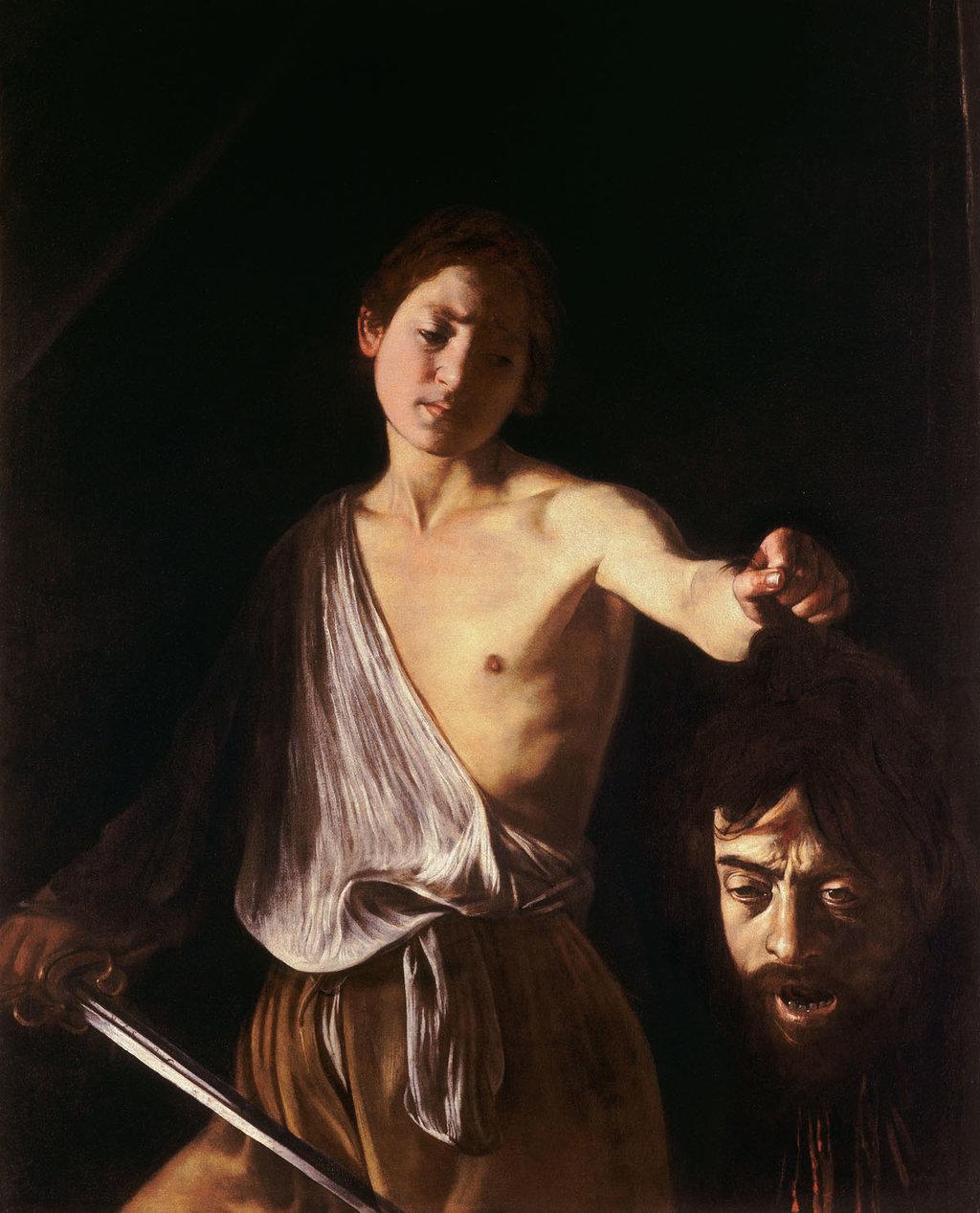 Davide con la testa di Golia, particolare.