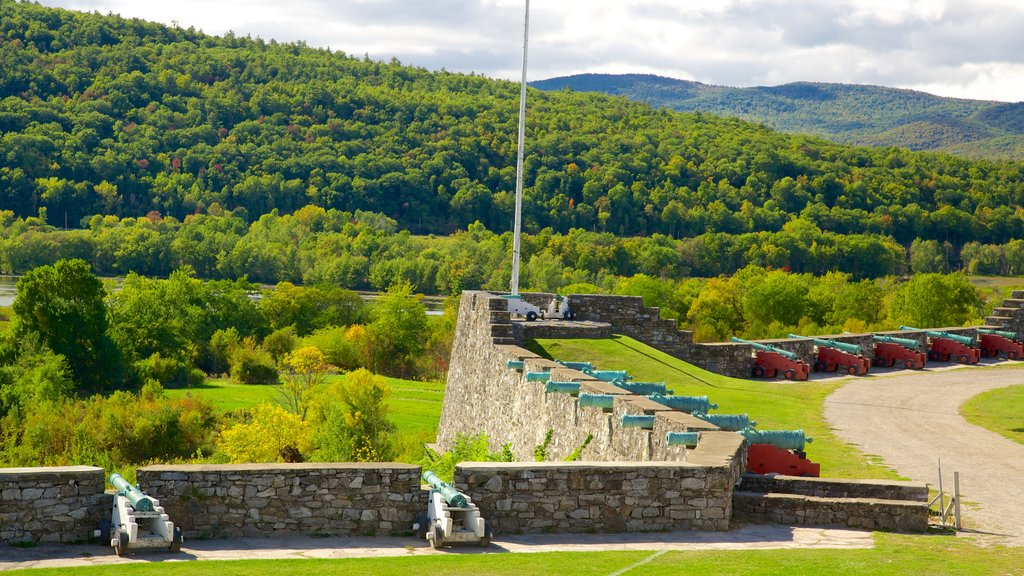 Fort Ticonderoga featuring military items, heritage elements and chateau or palace