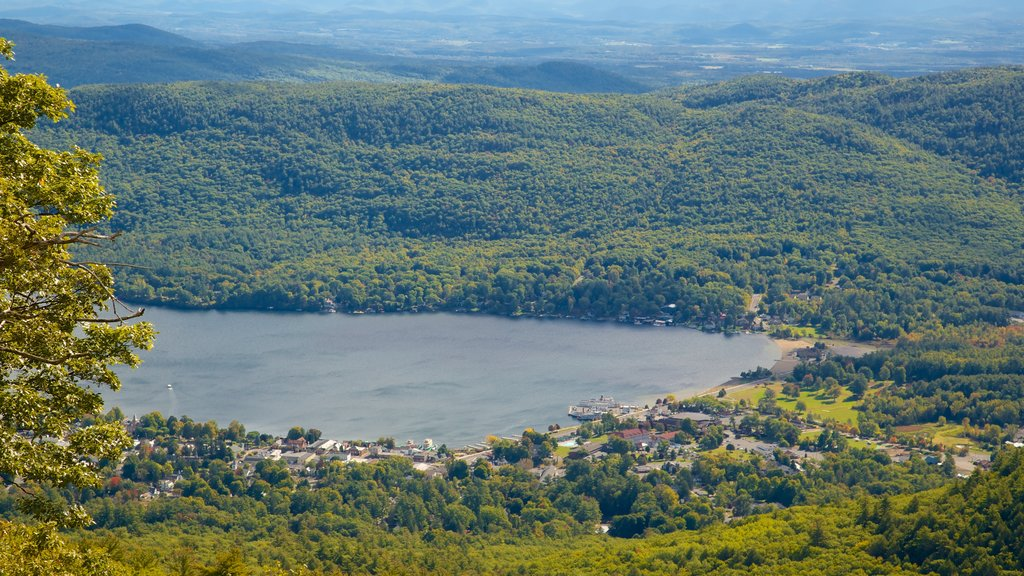 Lake George showing a small town or village, a lake or waterhole and tranquil scenes