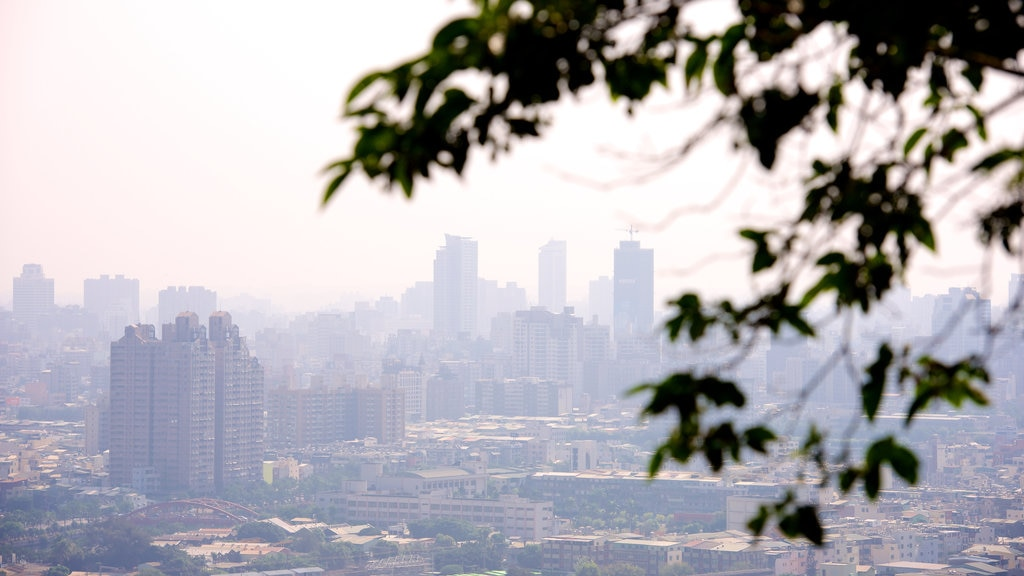 Caishan Natural Park showing a city