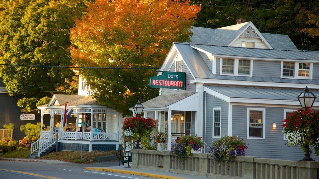 Wilmington mostrando los colores del otoño y una ciudad