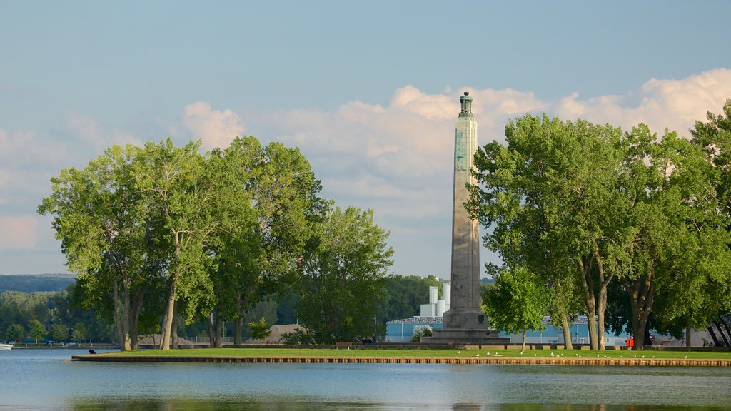 Erie showing a lake or waterhole, a monument and a park