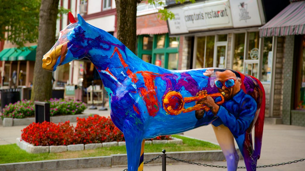 Saratoga Springs featuring outdoor art, a city and a statue or sculpture