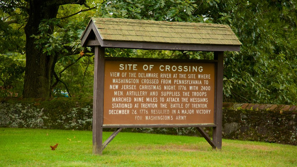Washington Crossing which includes signage