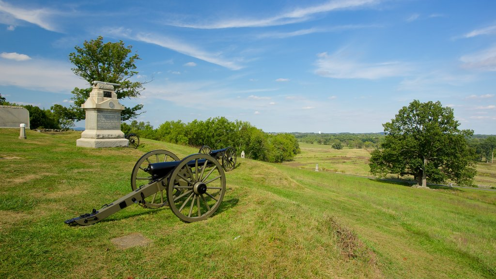 Gettysburg National Military Park which includes heritage elements, military items and a garden