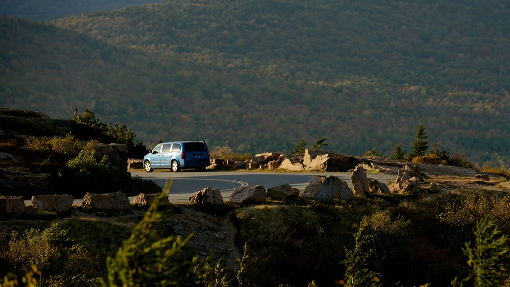 Cadillac Mountain showing vehicle touring and mountains