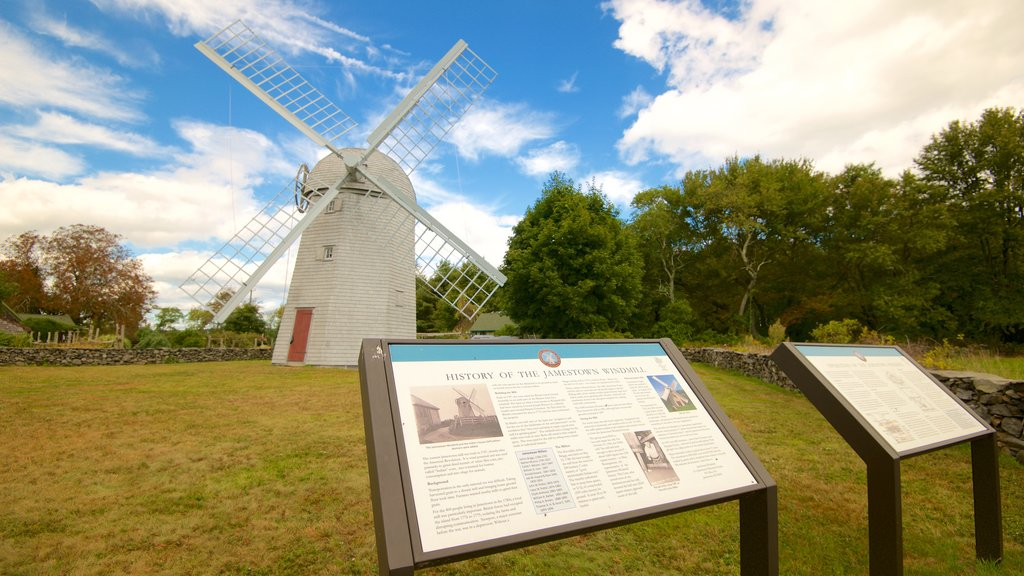 Jamestown Windmill showing a windmill and heritage elements