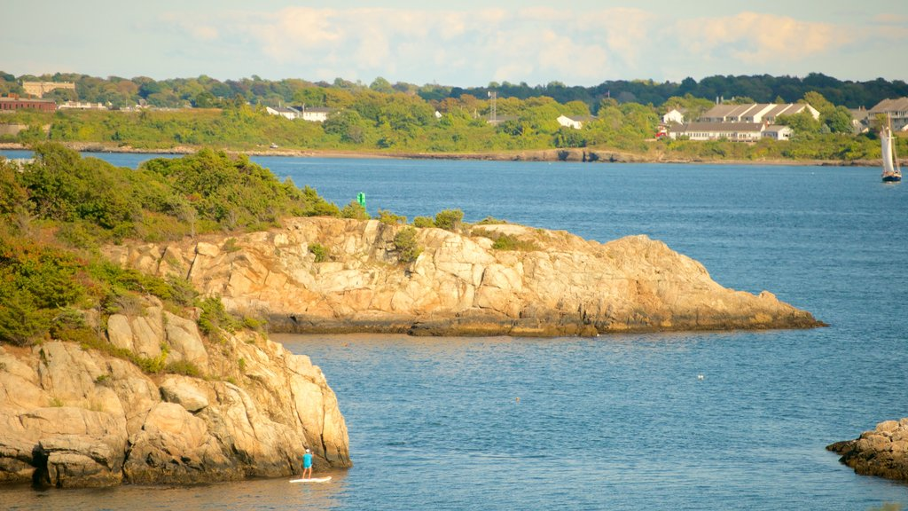 Fort Wetherill State Park which includes rugged coastline and general coastal views
