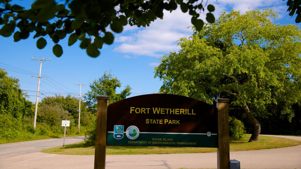 Fort Wetherill State Park which includes signage