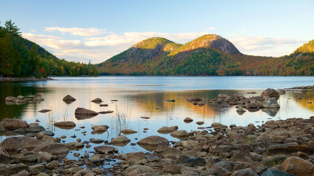 Jordan Pond featuring a pond and tranquil scenes