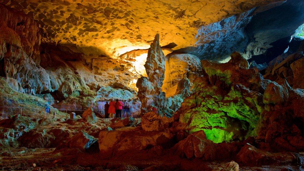 Halong Bay showing caves