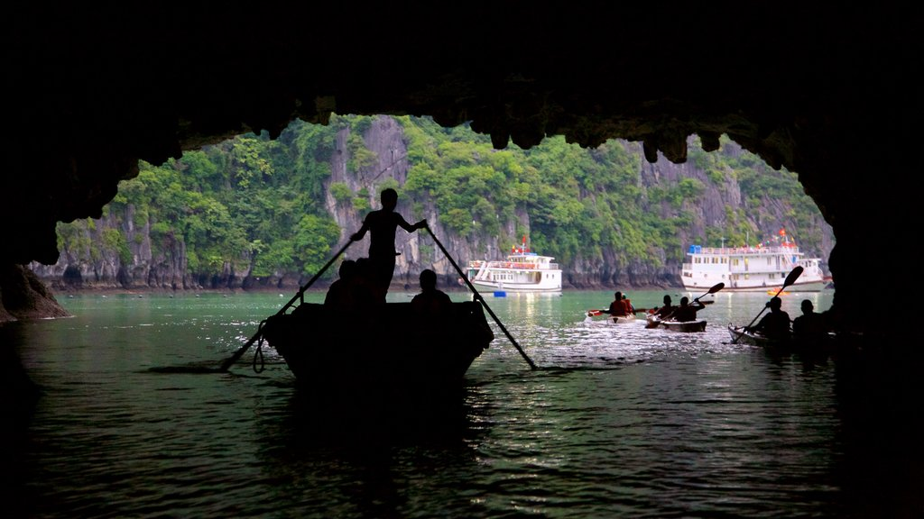 Halong Bay which includes kayaking or canoeing as well as a small group of people