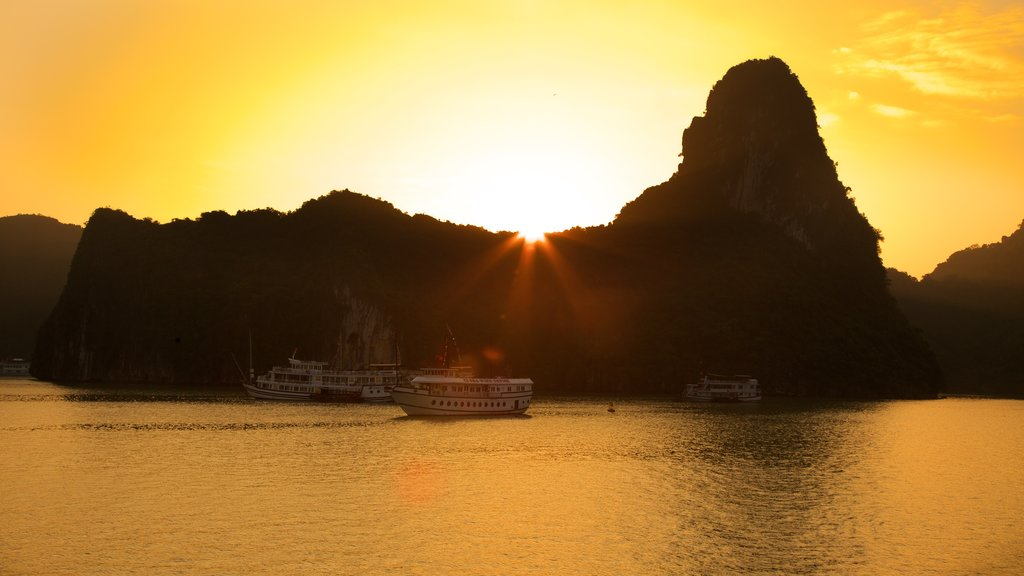 Halong Bay showing a sunset