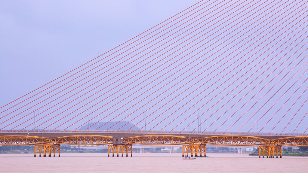 Han River which includes a bridge and modern architecture