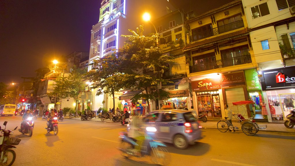 Hang Gai Street showing night scenes and street scenes