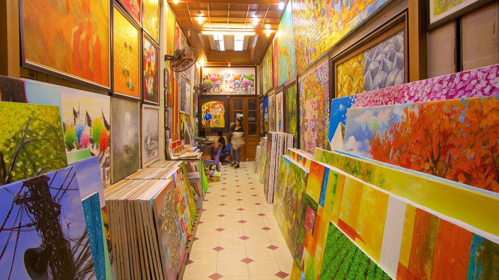 Hang Gai Street showing shopping, interior views and art