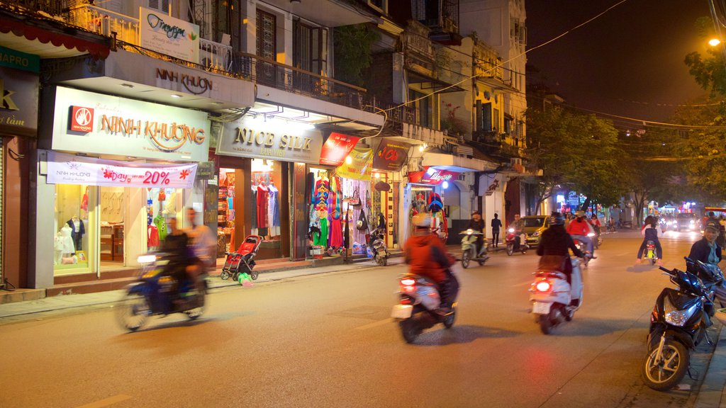 Hang Gai Street which includes night scenes and street scenes