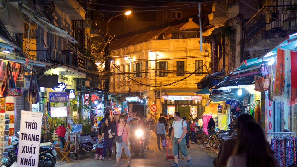 Hanoi which includes shopping, street scenes and night scenes