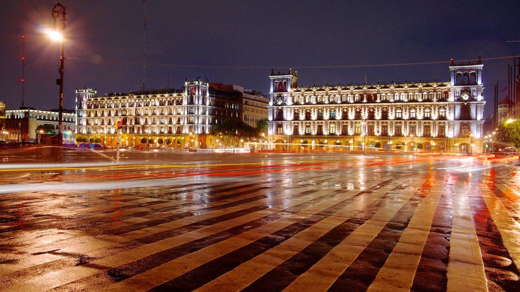 Zocalo featuring heritage architecture, a city and night scenes