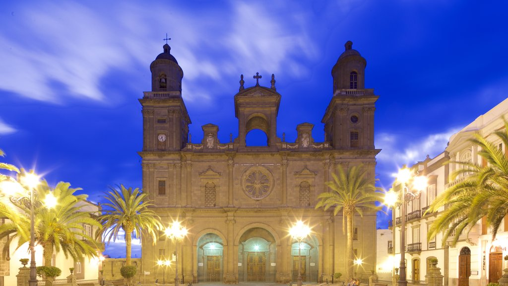 Cathedral of Santa Ana featuring a square or plaza, heritage architecture and religious elements