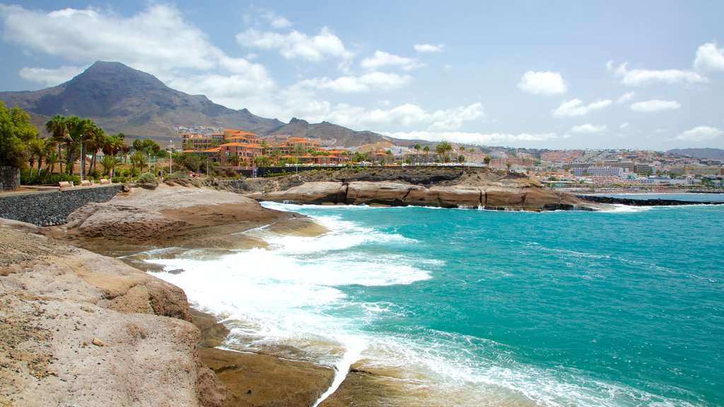 Del Duque Beach featuring rugged coastline and mountains