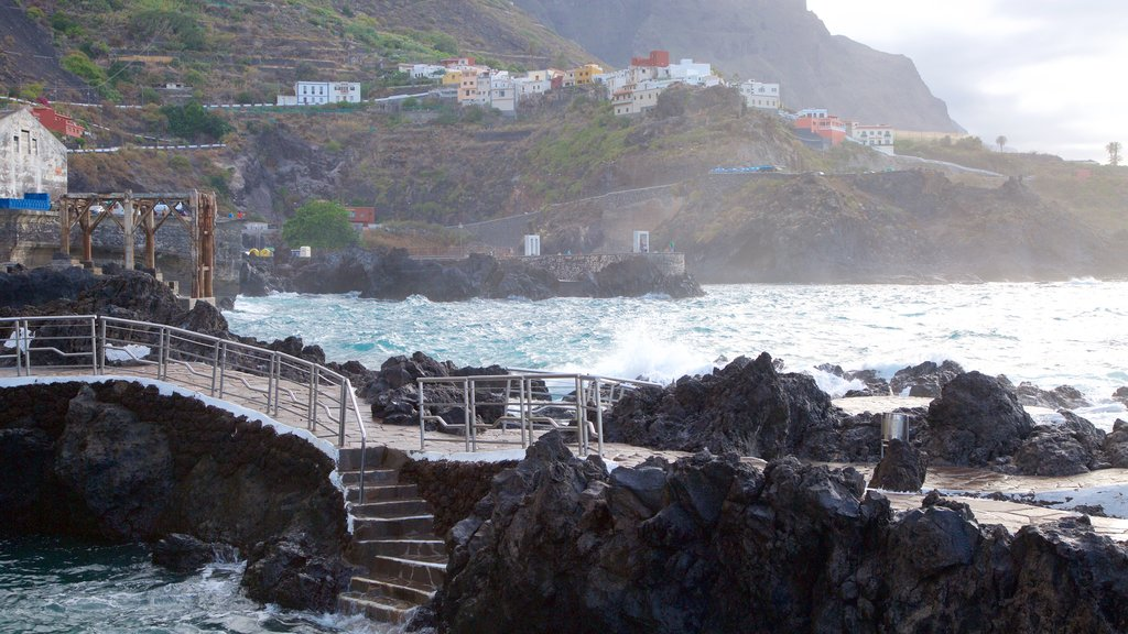 Garachico showing rugged coastline and a coastal town