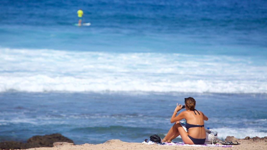 Playa de las Americas featuring general coastal views and a beach as well as an individual femail