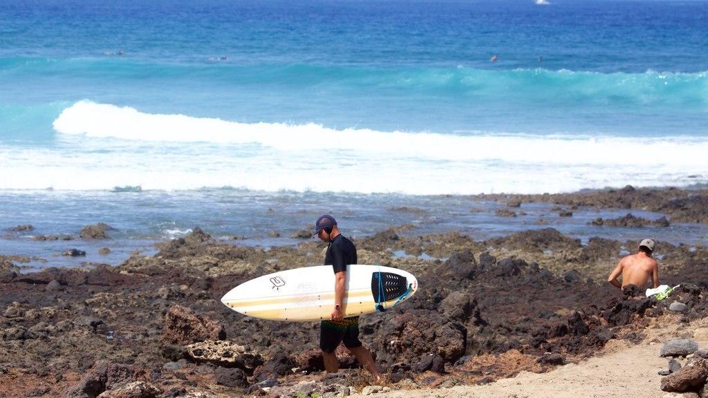Playa de las Americas showing waves, surfing and rocky coastline