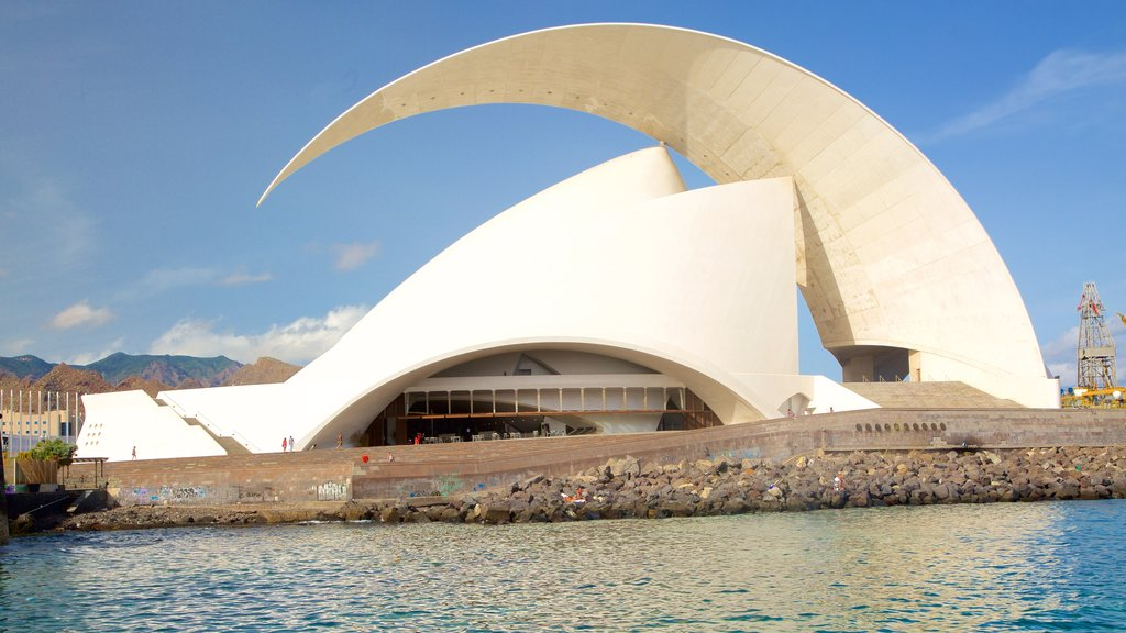 Auditorio de Tenerife which includes modern architecture and general coastal views
