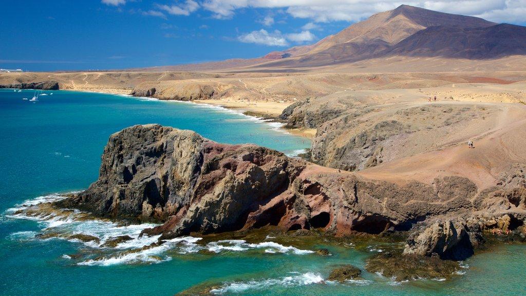 Papagayo Beach which includes rugged coastline, general coastal views and a sandy beach