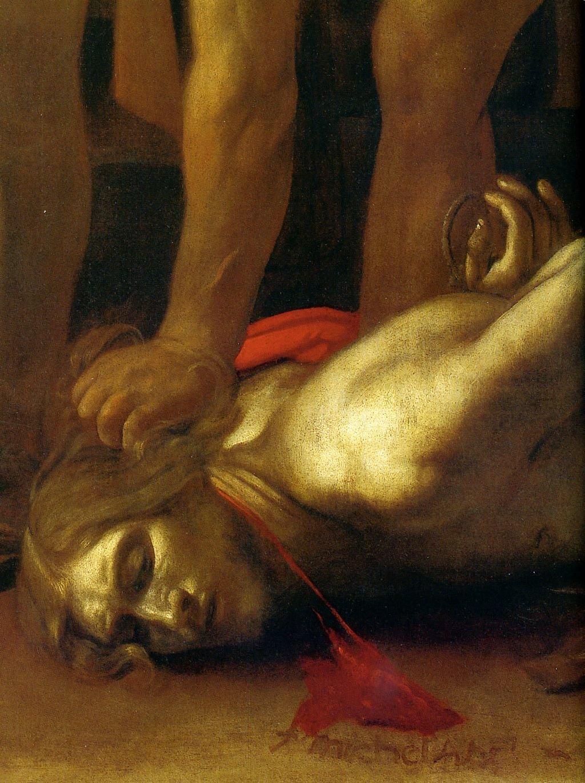 La Decollazione di San Giovanni Battista, particolare in cui si nota, in basso, la firma del Caravaggio.