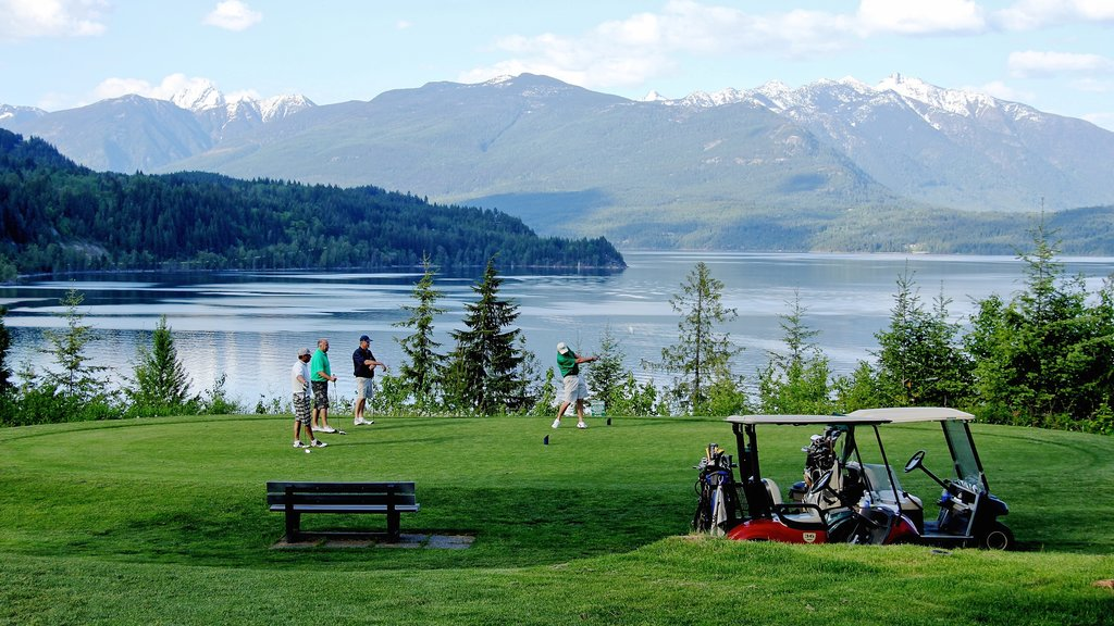 Nelson featuring a lake or waterhole, mountains and golf