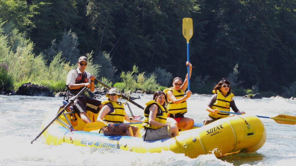 Rogue River which includes rapids and rafting as well as a small group of people