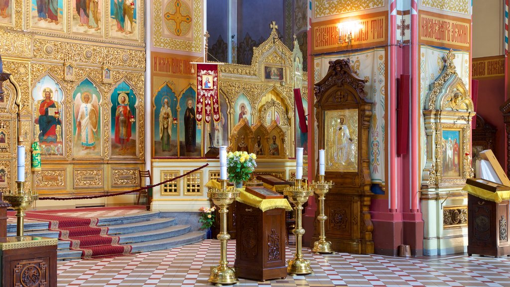 Alexander Nevsky Cathedral showing a church or cathedral, religious elements and interior views