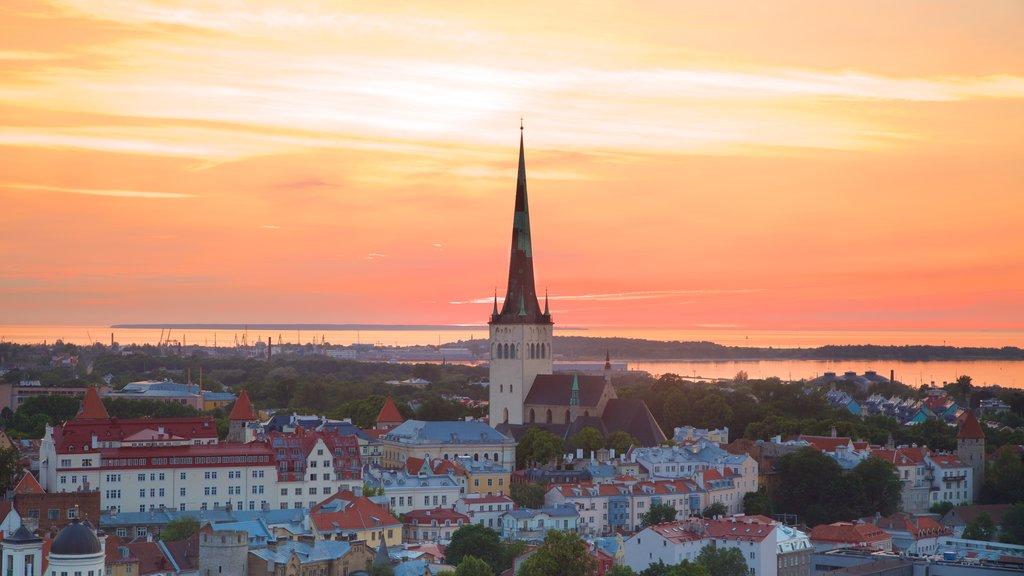 Tallinn showing a city and a sunset