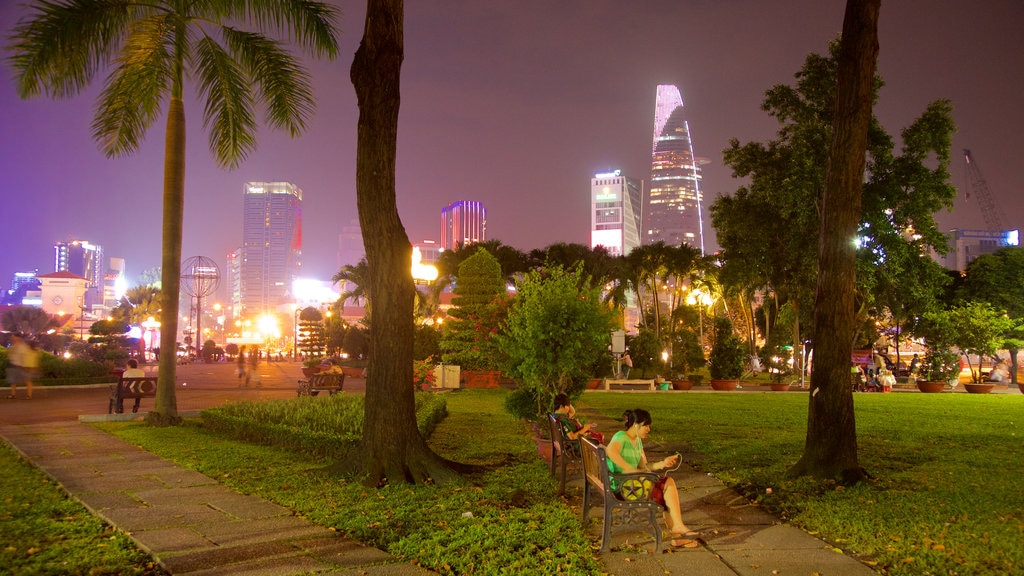 Ho Chi Minh City showing a park and night scenes