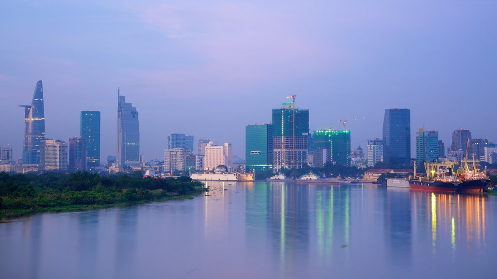 Saigon River which includes skyline, a lake or waterhole and a city