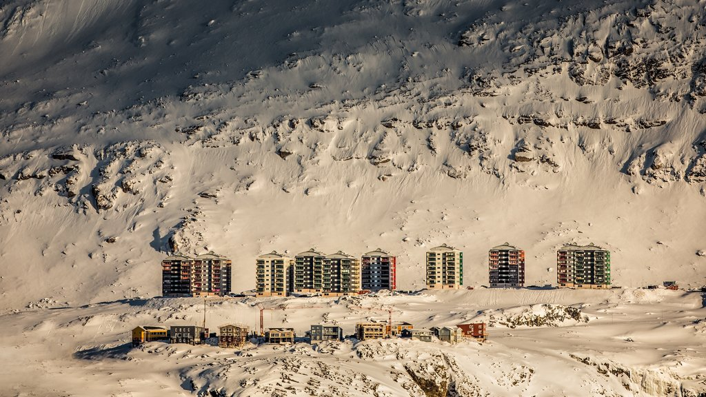 Nuuk featuring a small town or village and snow
