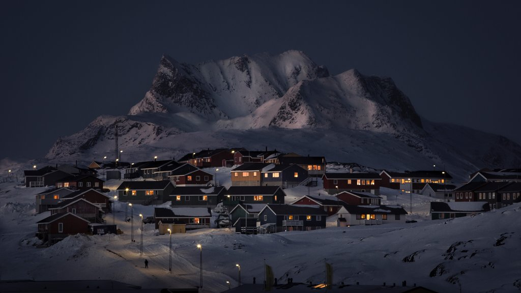 Nuuk showing night scenes, snow and a small town or village
