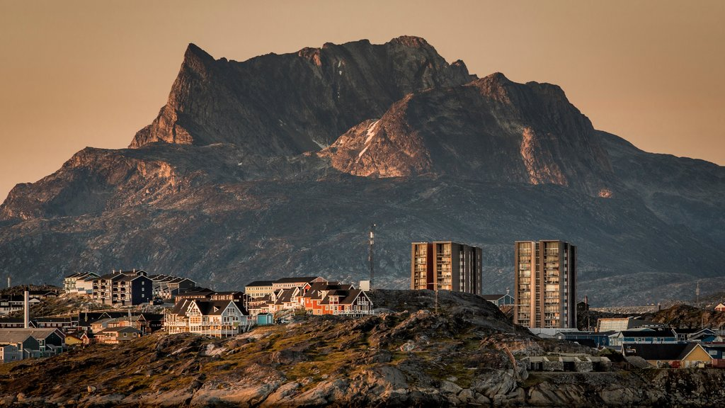 Nuuk featuring mountains and a city