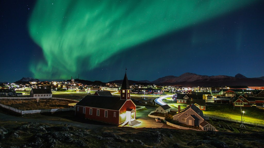 Nuuk showing a city, night scenes and northern lights
